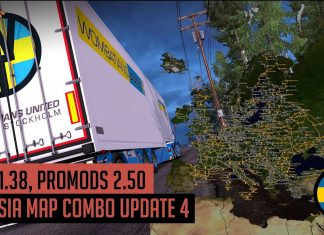 ETS2 1.38 - Promods 2.50 Eurasia Map Combo Update 4