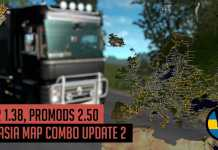 ETS2 1.38 - Promods 2.50 Eurasia Map Combo for BOTH versions of RoEx!